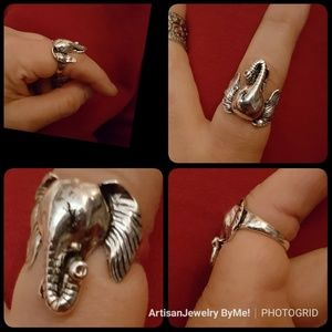 ModernElephant Face Tibetan Silver Sz 9 Ring